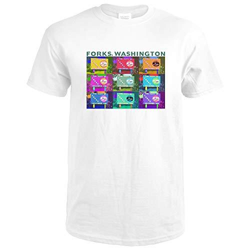 Forks Washington - Town Welcome Sign Pop Art 40731 Premium White T-Shirt XX-Large