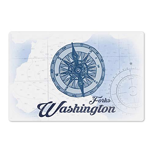 Lantern Press Forks Washington - Compass - Blue - Coastal Icon 72249 6x9 Aluminum Wall Sign Wall Decor Ready to Hang