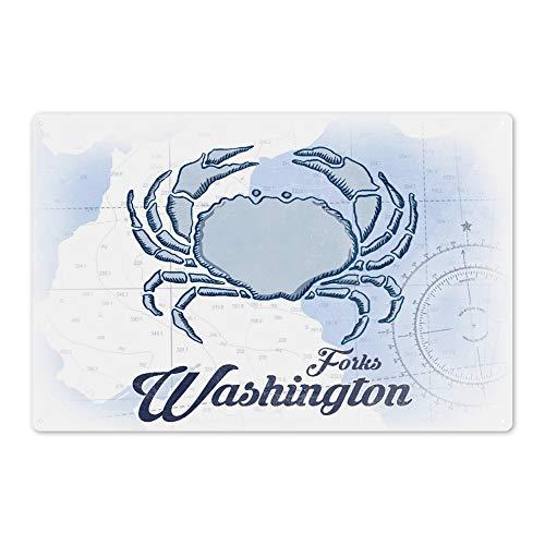 Lantern Press Forks Washington - Crab - Blue - Coastal Icon 72250 6x9 Aluminum Wall Sign Wall Decor Ready to Hang