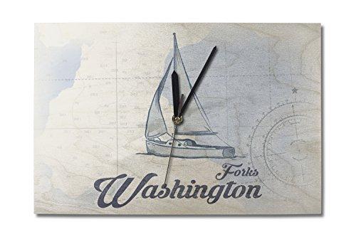 Lantern Press Forks Washington - Sailboat - Blue - Coastal Icon 10x15 Wood Wall Clock Decor Ready to Hang