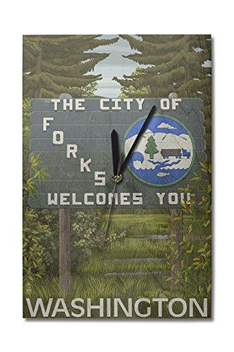 Lantern Press Forks Washington - Town Welcome Sign 10x15 Wood Wall Clock Decor Ready to Hang