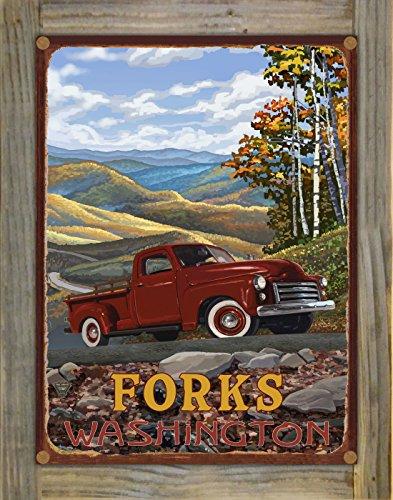 Northwest Art Mall Forks Washington Rustic Metal Print on Reclaimed Barn Wood by Paul A Lanquist 9 x 12