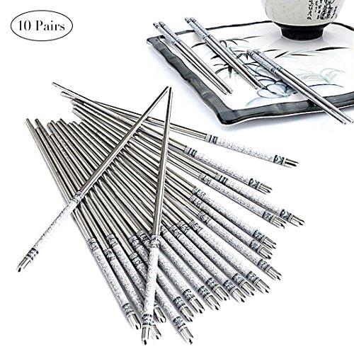 Chopsticks 10 Pairs Stainless Steel 304 Safe Long Reusable Chopsticks 9'' Gift Set for Kitchen Dinner