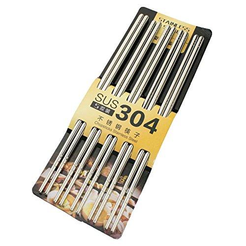 HuaLan Metal Chopsticks Stainless Steel Vacuum Hollow Lightweight Reuseable Chopsticks 5 Pairs