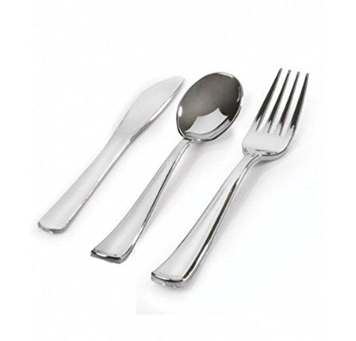 Silver Plastic Silverware Heavy Duty Looks Like Silver Cutlery Combo of 96 P