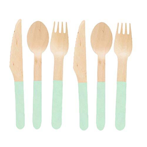 BESTOYARD 24pcs Wooden Flatware Set Portable Fork Cutter Spoon Tableware Set Wooden Disposable Cutlery Utensils for Dinner Barbecue Green