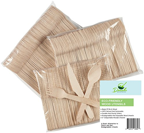 Wooden Disposable Cutlery Set of 300pc incl 100 Forks 100 Spoons 100 Knives 6 in Length Combo Pack Eco Friendly Biodegradable Compostable 100 Natural Utensils By Danube