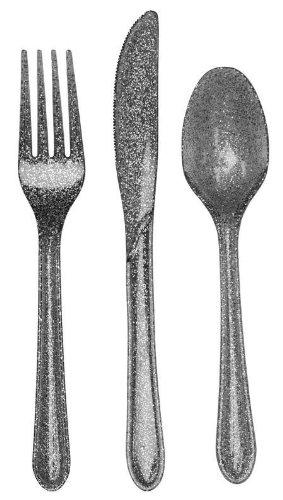 24-Piece Glitz Premium Plastic Cutlery Assortment Silver Glitter
