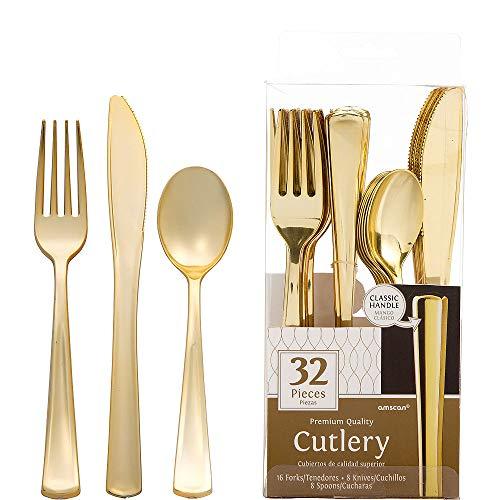 ELEGANI Black Gold Geometric Premium Tableware for Holidays Parties Wedding Annniversary New Year Gold Premium Plastic Cutlery Set 2X Pack of 32ct Each