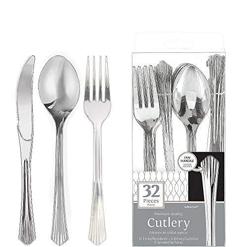ELEGANI Black Gold Geometric Premium Tableware for Holidays Parties Wedding Annniversary New Year Silver Fan Handle Premium Plastic Cutlery Set 2X Pack of 32ct Each