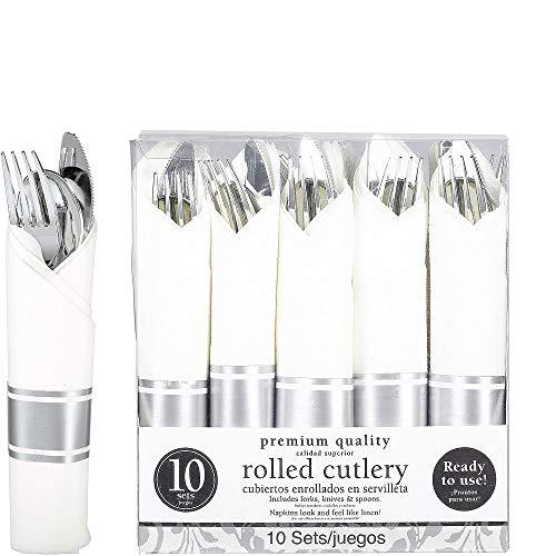 ELEGANI White Silver Premium Tableware Rolled Silver Premium Plastic Cutlery Sets 10ct