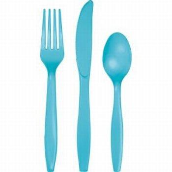 Heavy-Duty Cutlery 24Pkg-Bermuda Blue