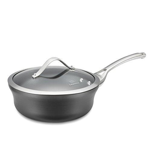 Calphalon Contemporary Hard-anodized Aluminum Nonstick Cookware, Shallow Sauce Pan, 2 1/2-quart, Black