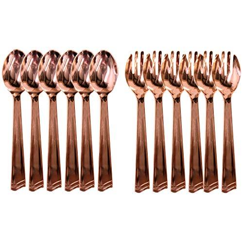 Rose Gold Serving Utensils Disposable Plastic 6 Serving Spoons 6 Serving Forks - Set of 12