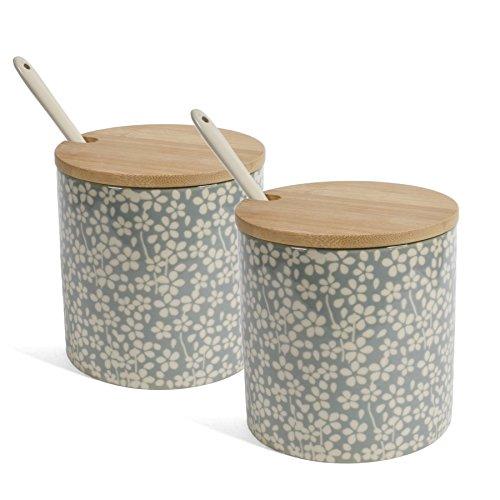 Bloomingville Seeke Ceramic Jar with Spoon and Bamboo Lid Gray Set of 2