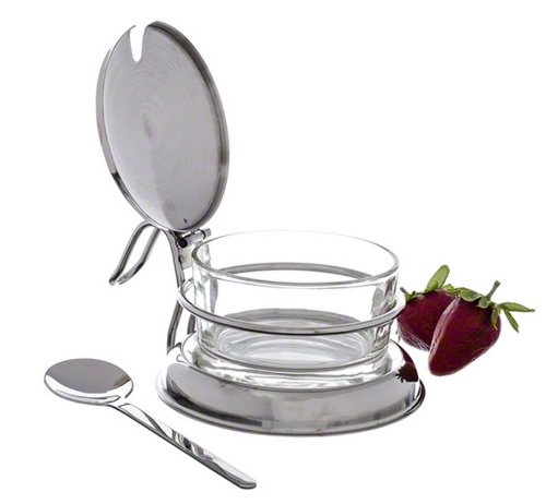 Tablecraft 6 oz Glass Condiment Jar Spoon Tabletop Set  Commerical Quality for Restaurant or Home Use