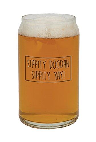 Barstool Philosopher Sippity Doodah Sippity Yay Can Shaped Glass 16 Ounce