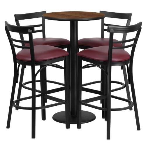 Flash Furniture 24 Round Walnut Laminate Table Set with 4 Ladder Back Metal Barstools - Burgundy Vinyl Seat