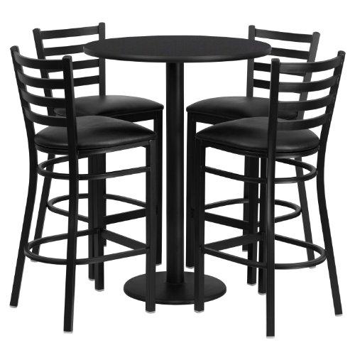 Flash Furniture 30 Round Black Laminate Table Set with 4 Ladder Back Metal Barstools - Black Vinyl Seat
