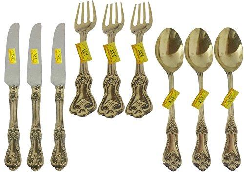 SHIV SHAKTI ARTS Handmade Pure Brass Designer Cutlery Set Of 3 Butter Knife 3 Spoon 3 Fork