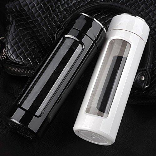 Tea Infuser - Tea Tumbler Tea Cup with Loose Leaf Tea Strainer – Travel Coffee Mug - Glass Water Bottle11oz white