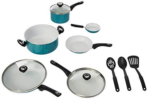 Farberware 17494 Ceramic Nonstick Cookware Pots and Pans Set 12 Piece Aqua