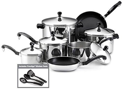 Farberware Classic Stainless Steel 15-Piece Cookware Set Renewed