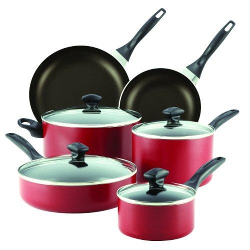 Farberware Dishwasher Safe Aluminum Nonstick 14-Piece Cookware Set Red