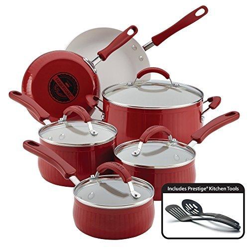 Farberware New Traditions Aluminum Nonstick 12-Piece Cookware Set Red