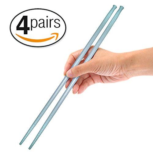 Gripsticks Cooking Chopsticks - Enhanced-Grip Tips 36cm 14 inch 4-Pair Wheat Straw Blue Chopsticks Dishwasher-Safe Reusable Chopsticks Blue Chopsticks