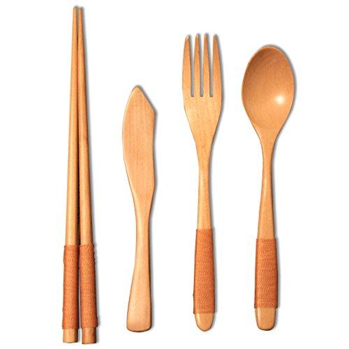 Adventures in Elegant Kitchenware - Travel Utensils - Reusable Chopsticks Forks Spoons Knives Set - Japanese Dinnerware - Wood Flatware 4 Piece Set in Beautiful Blonde