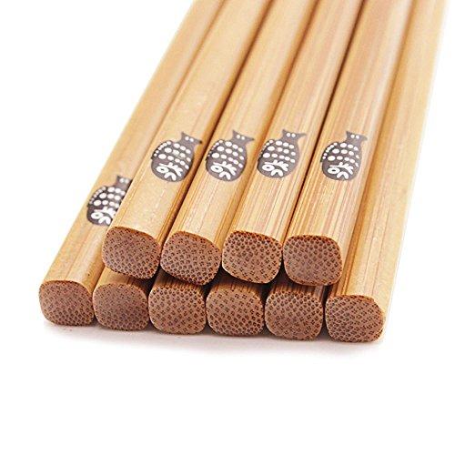 BoomYou 5 Pair Chinese Natural Bamboo Chopsticks Health Bamboo Wooden Lightweight Chopstick Reusable Chopsticks with Case Gift Sets Japanese Fat Fish Style - 225cm