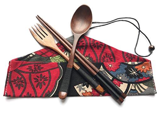 Japanese Natural Travel Utensils Wooden Tableware - Reusable Chopsticks Forks Spoons Knives Set - Wood Flatware 4 Piece Set in Beautiful Black Wooden Tableware C