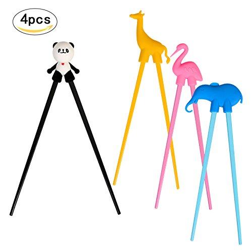 Training ChopstickLANMOK 4 Pairs Animal Training Chopsticks Utensil Set for for Right or Left-Handed Kids Beginners