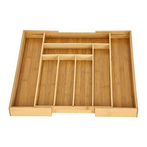 BONJIU Kitchen Drawer Finishing Cutlery Box Bamboo Cutlery Stretch Storage Storage Box Bamboo Expandable Drawer Organizer Kitchen Premium Cutlery and Utensil Tray