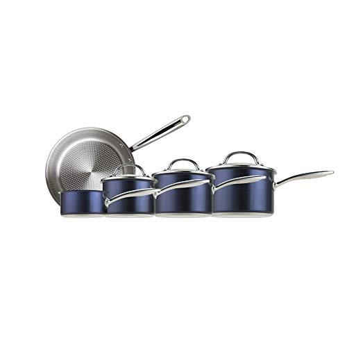 Prestige 76699 Optisteel 5 Piece Aluminium cookware Set-Blue Stainless steel and glass