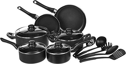 AmazonBasics 15-Piece Non-Stick Kitchen Cookware Set - Pots Pans and Utensils