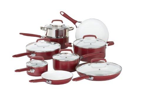 WearEver 2100087606 15 Piece Ceramic PTFE PFOA Cadmium Free Nonstick Cookware Set Red