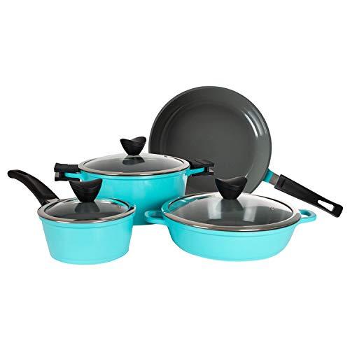 Zelancio Induction Base 7 Piece Cast Aluminum Ceramic Coated Nonstick Cookware Set Pots and Pans Set Kitchen Cook Ware Sets