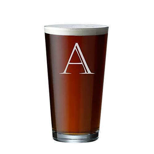 Engraved Pint Glass - Personalized Beer Glass - Custom Pint Glass - Big Initial - Last Name - Housewarming - Wedding - G