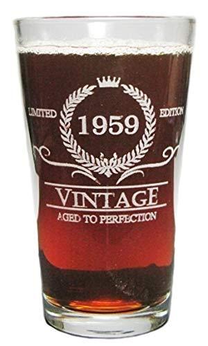 Vintage 1959 16oz Heavy Duty Laser Engraved Pint GlassBeer Glass