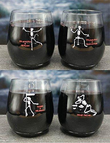 4-pack Wine-Oh Designer BPA Free Plastic Shatterproof Wine Glass TIPSY SKELETONS
