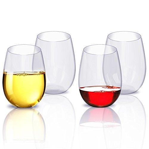 Wine Glasses Set Unbreakable Party Wine Glasses Plastic Cups Dishwasher Safe Stemless Plastic Wine Glasses 4pcs 16oz