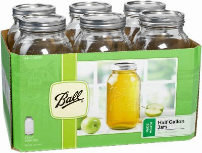 Ball 68100 Half Gallon Wide Mouth Canning Jars 6 Count