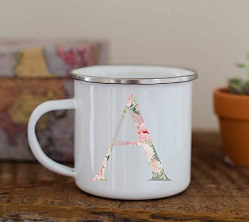 Floral Monogram Coffee Mug Gift Tea Cup White 11 oz