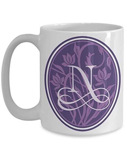 Monogram Coffee Mug Initial LetterN oversized 15 ounce Purple floral flower scroll serif decorative tea cup