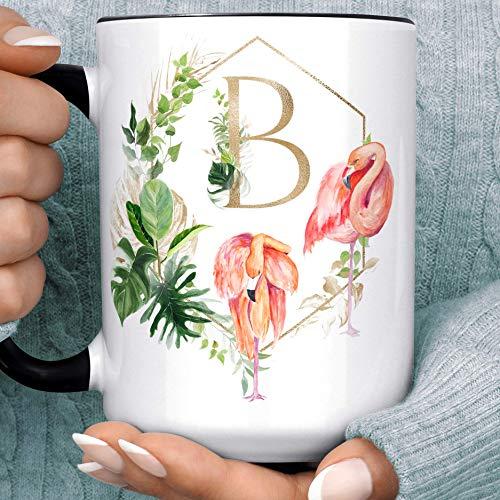 Monstera Plant Flamingo Monogram Coffee Mug Bridesmaid Wedding Letter Microwave Dishwasher Safe Personalized Initial Ceramic Cup