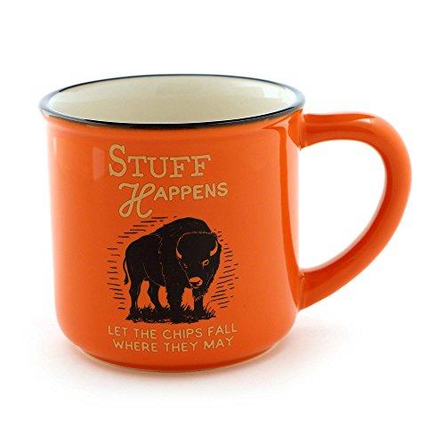 "Enesco 6000129 Our Name Is Mud for Men ""Stuff Happens"" Stoneware Coffee Mug 16 oz Orange"