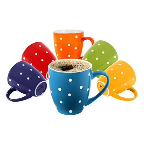 Klikel 6 Polka Dot Coffee Mugs 16oz Flat Bottom Porcelain Dinnerware Assorted Colors