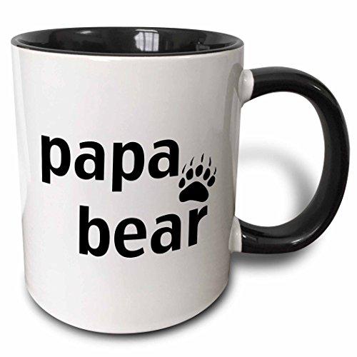 3dRose 3dRose Papa bear - Two Tone Black Mug 11oz mug_123094_4  BlackWhite